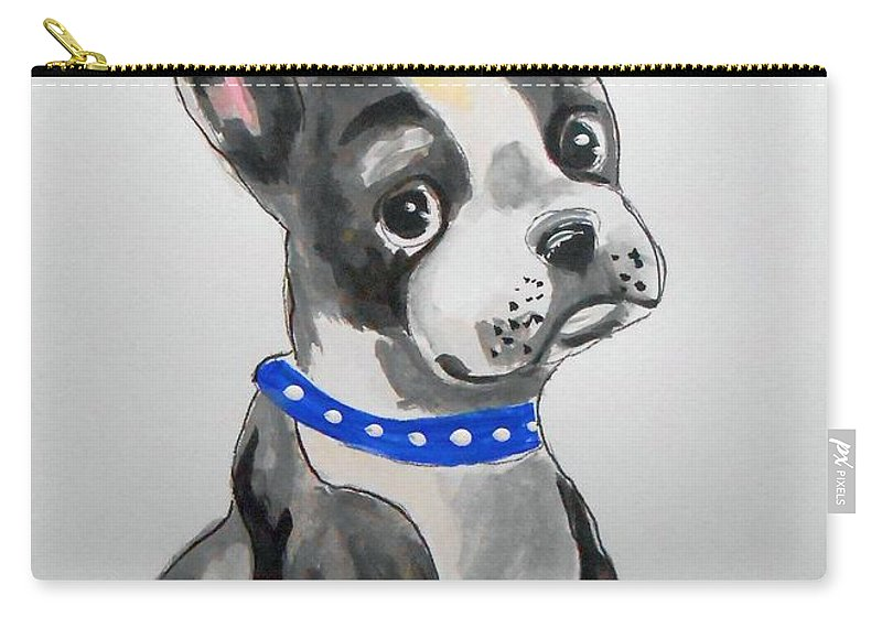 Boston Terrier Carry-all Pouch featuring the painting Boston Terrier Wall Art by Rita Drolet