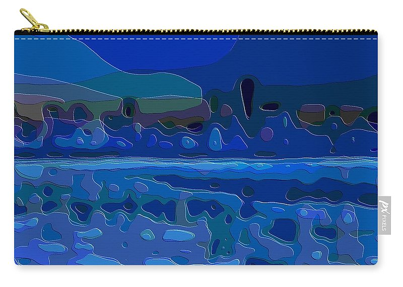 Cut-art-art Carry-all Pouch featuring the digital art Cutout Art Blue Landscape by Mary Clanahan