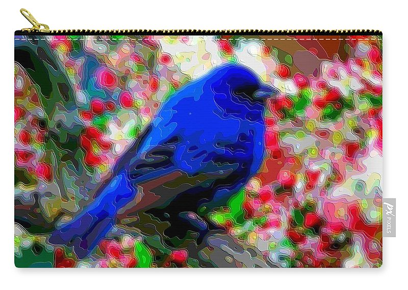 Blue-bird Carry-all Pouch featuring the digital art Cutout Layer Art Animal Portrait Bird Blue by Mary Clanahan