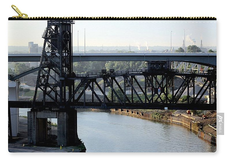 Cuyahoga Carry-all Pouch featuring the photograph Cuyahoga River Cleveland Flats by Wendy Gertz