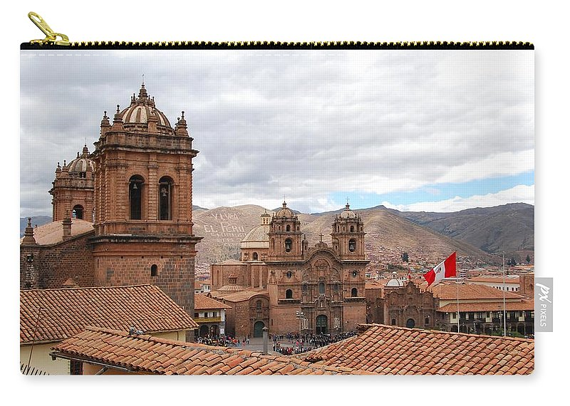 Plaza Del Armas Carry-all Pouch featuring the photograph Cuzco Plaza Del Armas by Cascade Colors