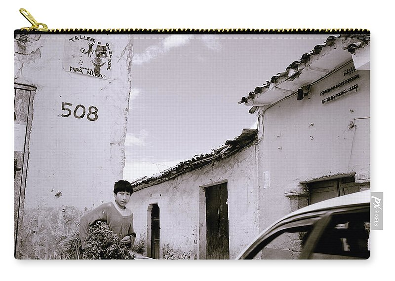 Cuzco Carry-all Pouch featuring the photograph The Streets Of Cuzco by Shaun Higson