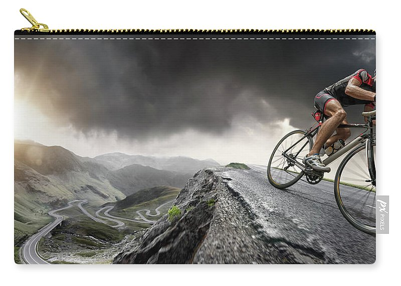 Sports Helmet Carry-all Pouch featuring the photograph Cyclist Climbs To The Top by Peepo