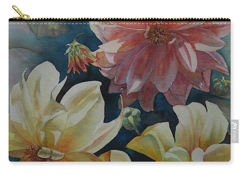 Flowers Carry-all Pouch featuring the painting Cynthia's Dahlias by Ruth Kamenev