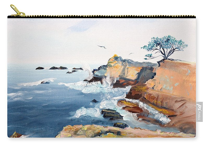 Seascape Painting Carry-all Pouch featuring the painting Cypress And Seagulls by Asha Carolyn Young