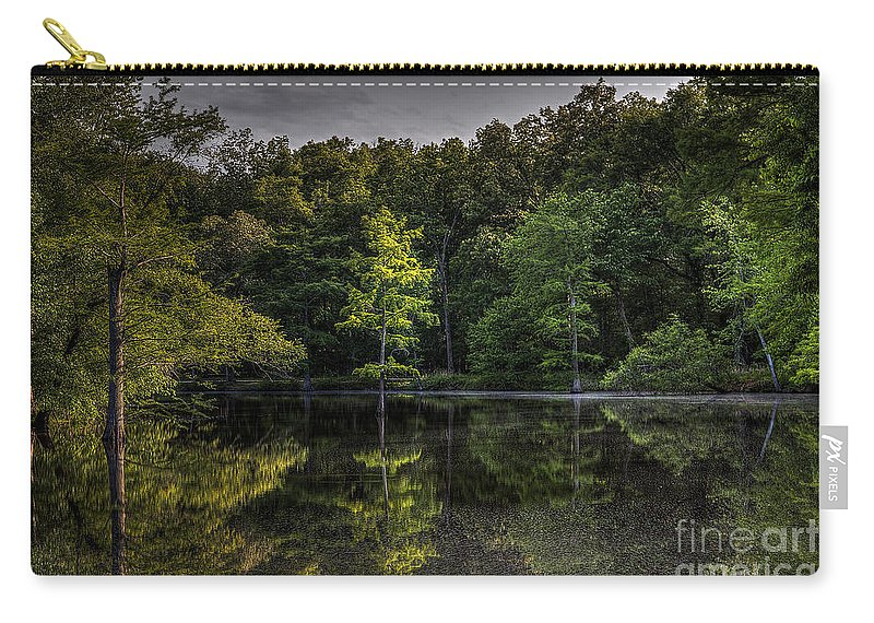 2014 Carry-all Pouch featuring the photograph Cypress At Dusk by Larry Braun