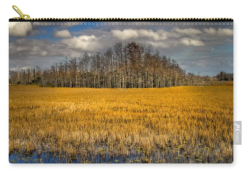 Clouds Carry-all Pouch featuring the photograph Cypress Marsh by Debra and Dave Vanderlaan