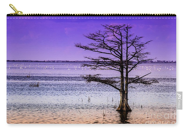 Cypress Carry-all Pouch featuring the photograph Cypress Purple Sky 2 by Scott Hervieux