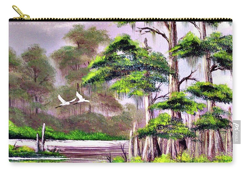 Cypress Carry-all Pouch featuring the painting Cypress Trees-wakulla River Florida by Bill Holkham