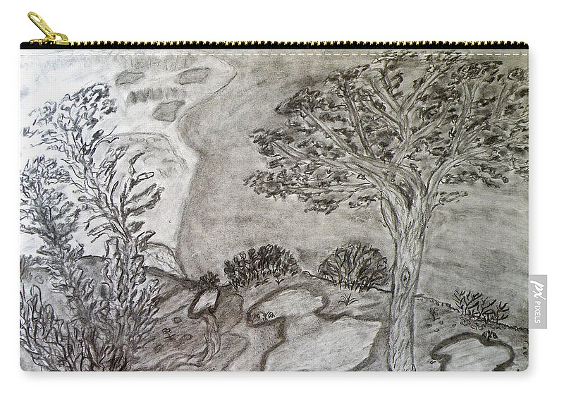 Cypresses In Cyprus Carry-all Pouch featuring the drawing Cypresses In Cyprus by Augusta Stylianou