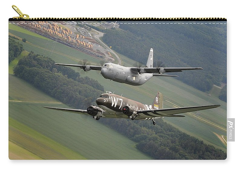 C130 Carry-all Pouch featuring the photograph D Day Past And Present by Paul Fearn