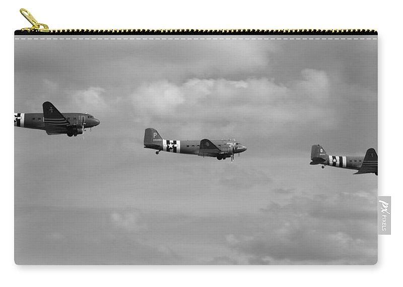 D-day Carry-all Pouch featuring the photograph D-day Skytrain Trio Black And White Version by Gary Eason