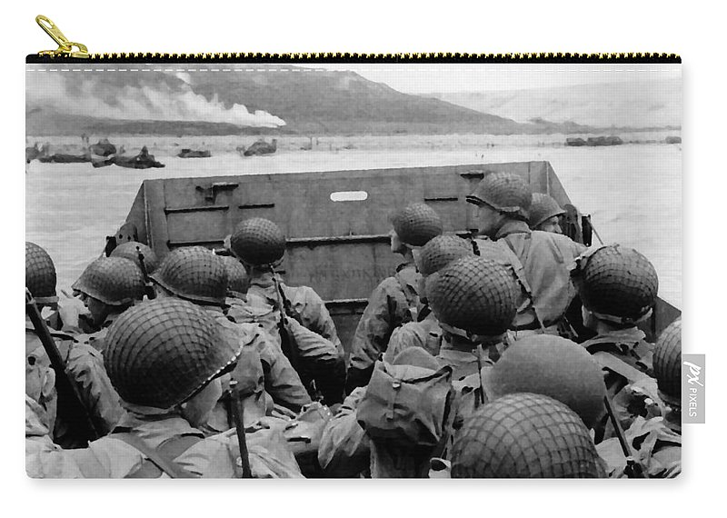 D Day Carry-all Pouch featuring the painting D-day Soldiers In A Higgins Boat by War Is Hell Store