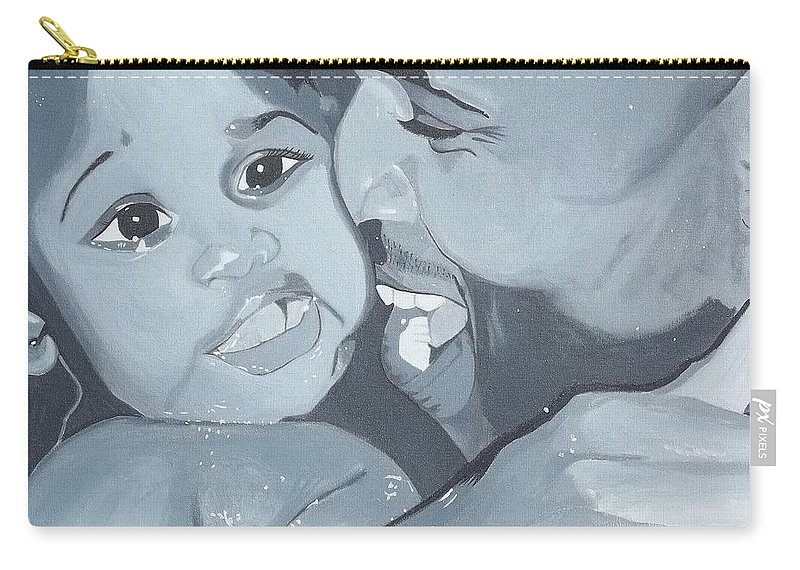 Black Male Carry-all Pouch featuring the painting Daddy's Girl by Christine Hamilton Kourou
