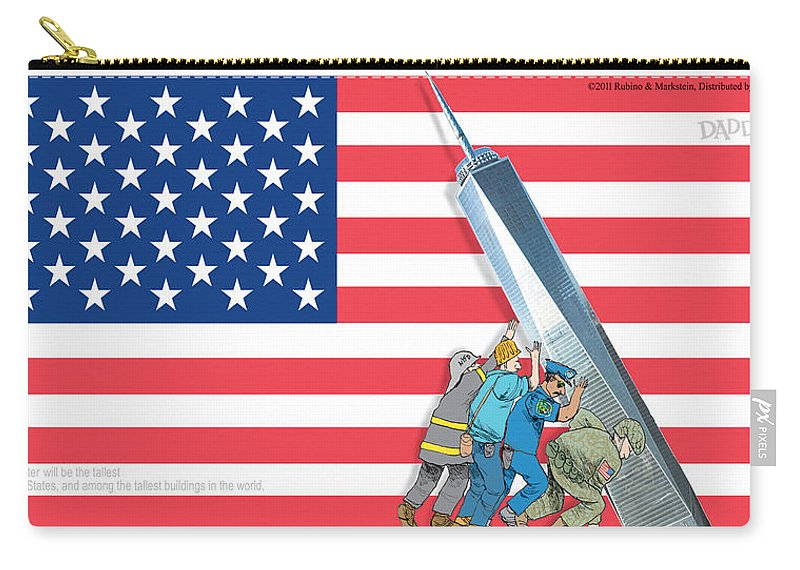 Daddys Home Carry-all Pouch featuring the painting Daddys Home 9/11 Tribute by Tony Rubino