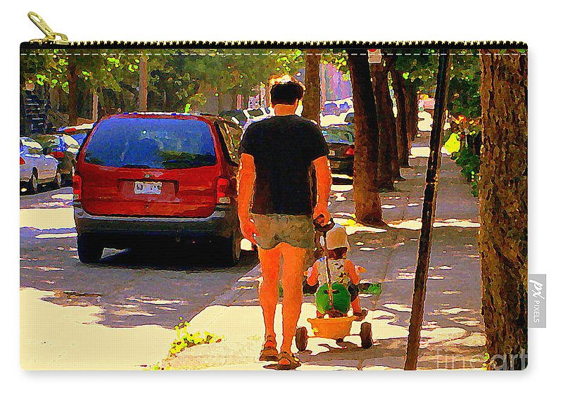 Montreal Carry-all Pouch featuring the painting Daddy's Little Buddy Perfect Day Wagon Ride Montreal Neighborhood City Scene Art Carole Spandau by Carole Spandau