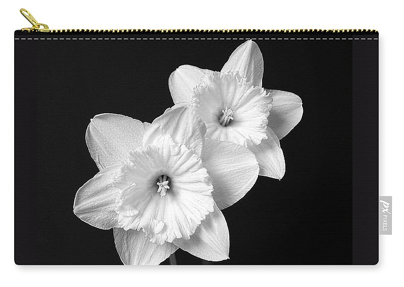 Daffodil Carry-all Pouch featuring the photograph Daffodil Flowers Black And White by Jennie Marie Schell