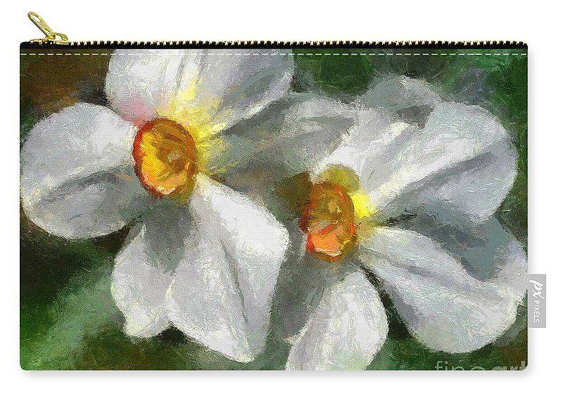 Spring Carry-all Pouch featuring the painting Daffodils by Dragica Micki Fortuna