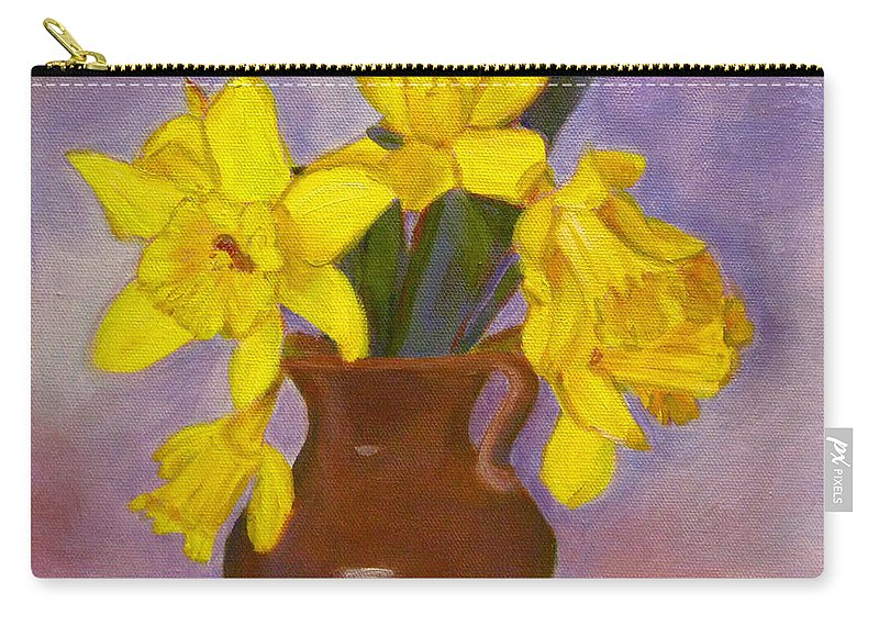 Daffodils Carry-all Pouch featuring the painting Yellow Daffodils On Purple by Robie Benve