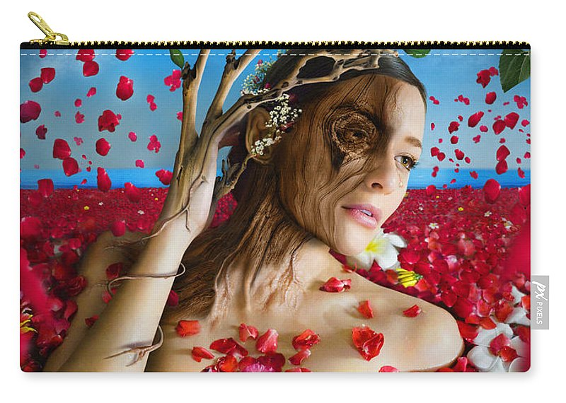 Dafne Carry-all Pouch featuring the digital art Dafne  Hit In The Physical But Hurt The Soul by Alessandro Della Pietra