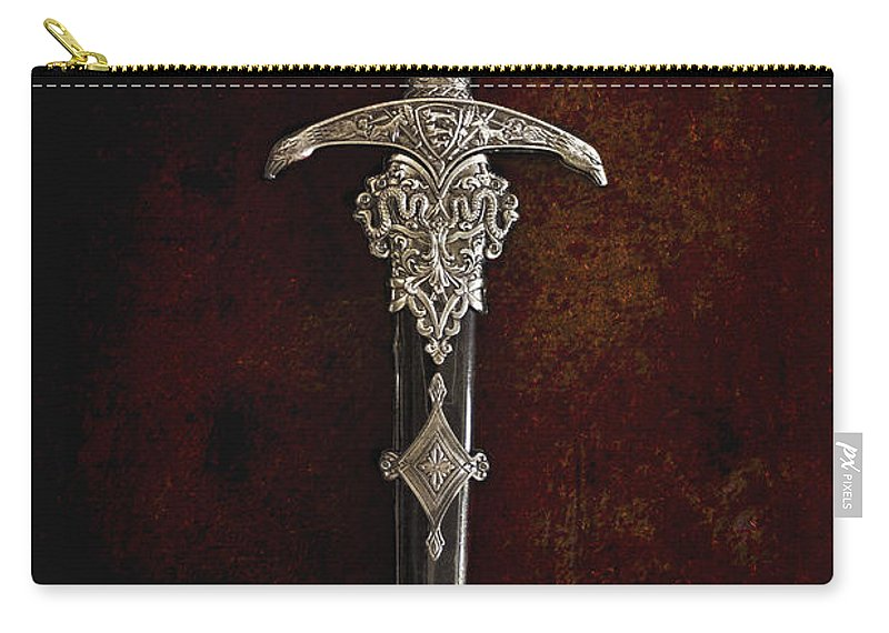 Sword; Knife; Weapon; Ornate; Cover; Still Life; Antique; Vintage; Renaissance; Military; King; Army; Military; Weaponry; Silver; Black; Snakes; Detailed; Serpent; Eagle; Bird; Face; Jewels; Handle; Marble; Onyx; Sharp; Dagger Carry-all Pouch featuring the photograph Dagger by Margie Hurwich