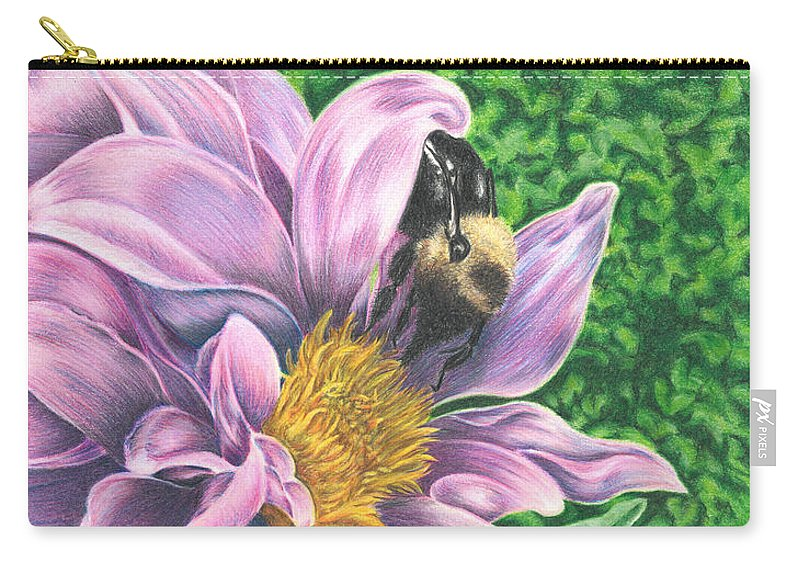 Dahlia Carry-all Pouch featuring the drawing Dahlia by Troy Levesque