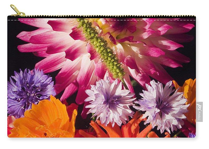 Dahlia Carry-all Pouch featuring the photograph Dahlia Zinnia Bachelor's Buttons Flowers by Keith Webber Jr