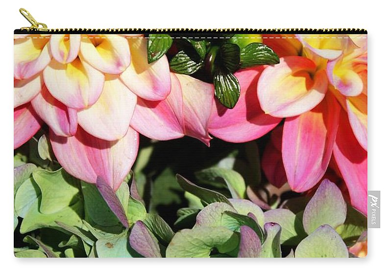 Dahlias Carry-all Pouch featuring the photograph Dahlias And Hydrangeas Bouquet by Carol Groenen