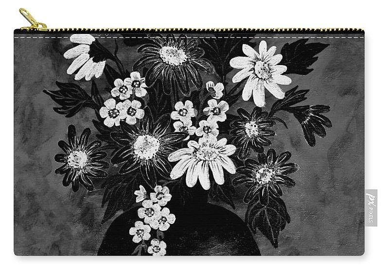 Daisies Carry-all Pouch featuring the painting Daisies In Black And White by Barbara Griffin