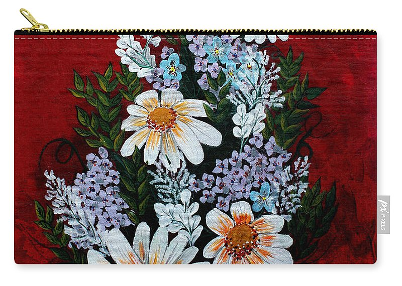 Barbara Griffin Carry-all Pouch featuring the painting Daisies Lilacs And Forget Me Nots by Barbara Griffin