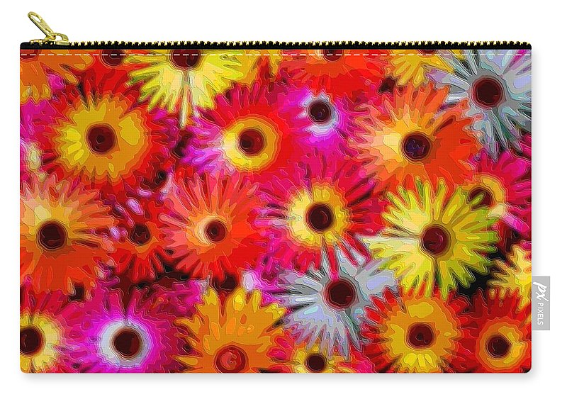 Flower-art Carry-all Pouch featuring the digital art Daisies by Mary Clanahan