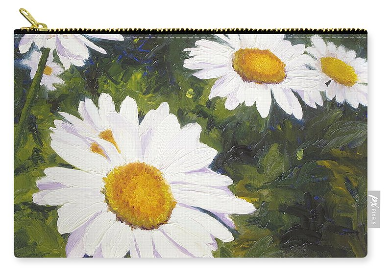 Flowers Carry-all Pouch featuring the painting Daisies Squared by Lea Novak