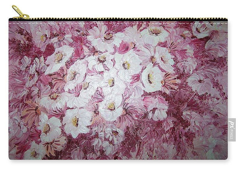 Carry-all Pouch featuring the painting Daisy Blush by Karin Dawn Kelshall- Best