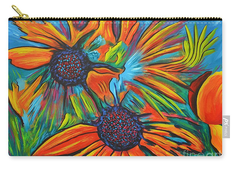 Flowers Carry-all Pouch featuring the painting Daisy Chain Reaction by Tony Oakey