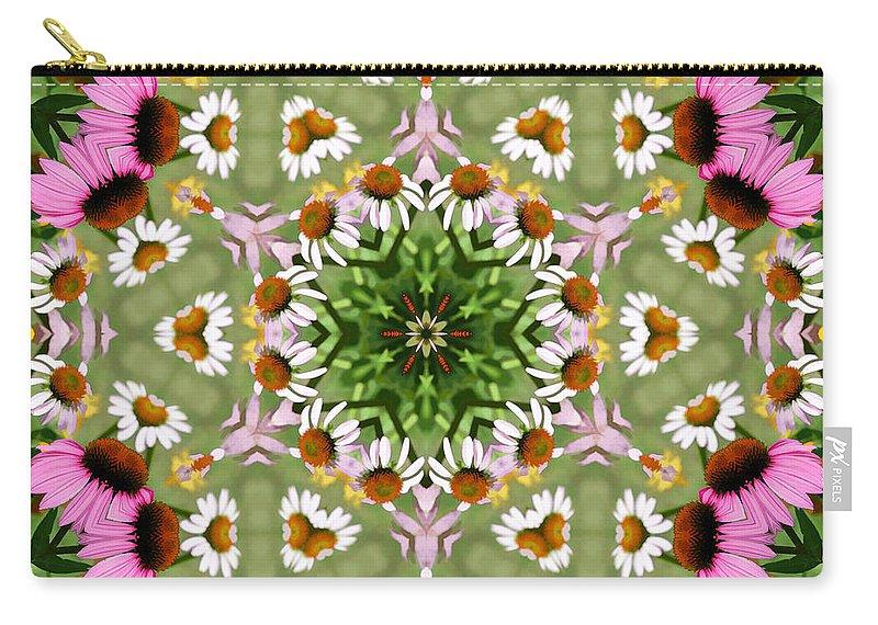Daisies Carry-all Pouch featuring the photograph Daisy Daisy Do Kaleidoscope by Kathy Clark