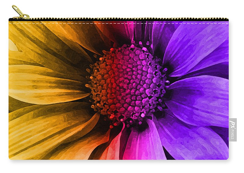 Daisy Carry-all Pouch featuring the mixed media Daisy Daisy Yellow To Purple by Angelina Vick