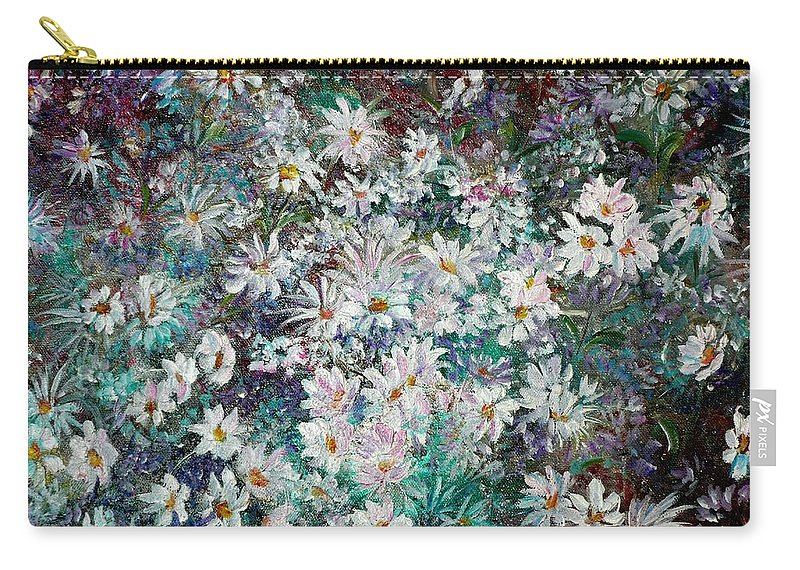 Has A White Frame Carry-all Pouch featuring the painting Daisy Dreamz Remix by Karin Dawn Kelshall- Best