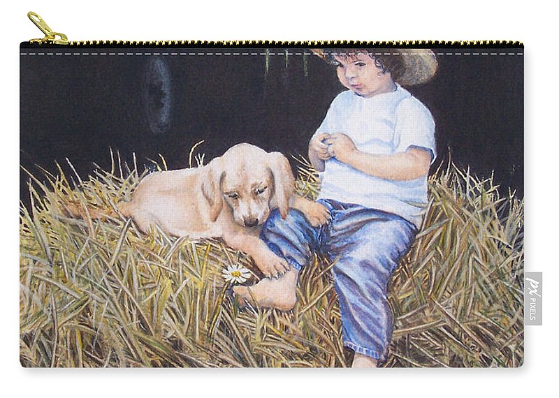 Daisy Carry-all Pouch featuring the painting Daisy by Nancy Cupp