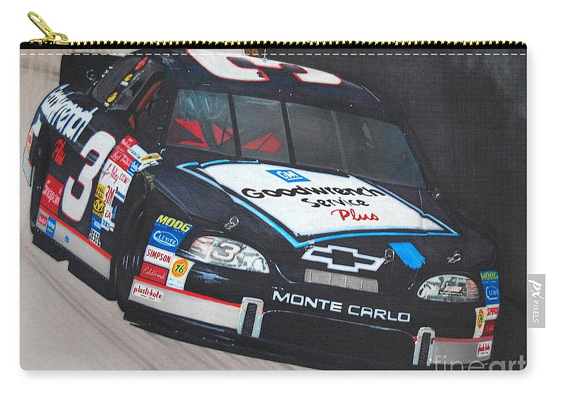 Car Carry-all Pouch featuring the drawing Dale Earnhardt At Bristol by Paul Kuras