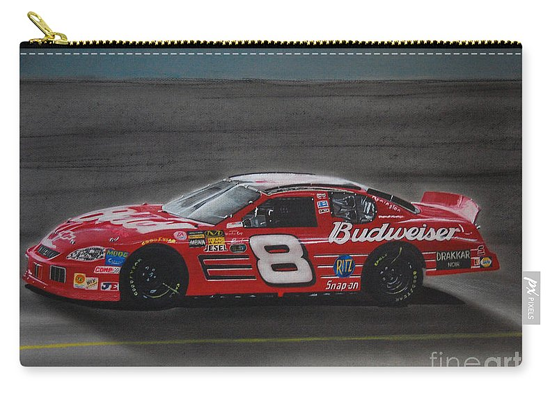 Car Carry-all Pouch featuring the drawing Dale Earnhardt Junior At California by Paul Kuras