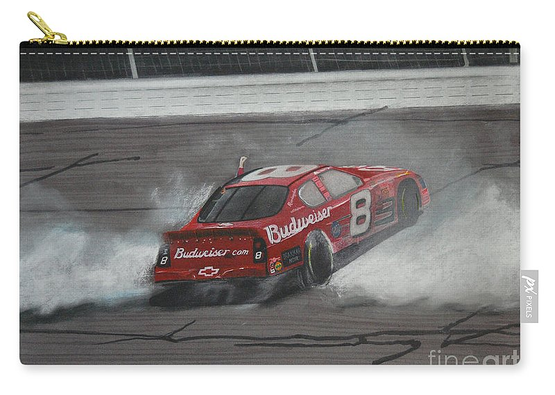 Car Carry-all Pouch featuring the drawing Dale Earnhardt Junior Victory Burnout by Paul Kuras