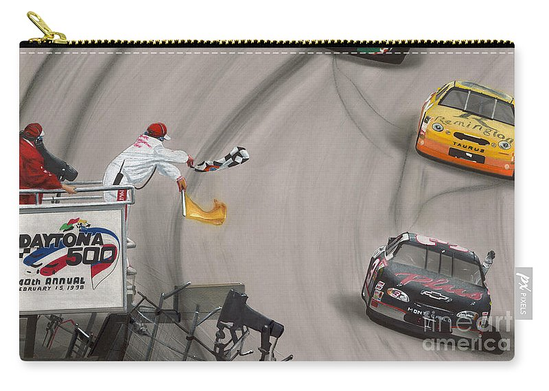 Car Carry-all Pouch featuring the drawing Dale Earnhardt Wins Daytona 500-checkered Flag by Paul Kuras