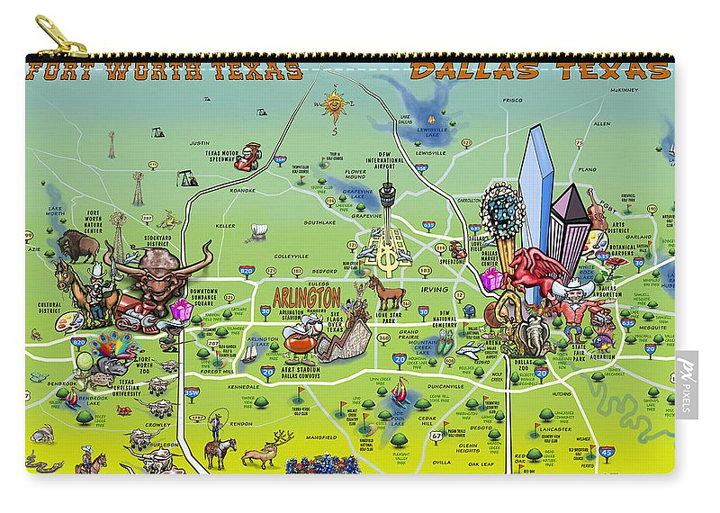 Fort Worth Dallas Map.Dallas Fort Worth Cartoon Map Carry All Pouch For Sale By Kevin