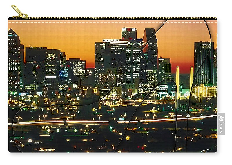 Watercolour Digital Art Carry-all Pouch featuring the mixed media Dallas Texas Skyline In A High Heel Pump by Marvin Blaine