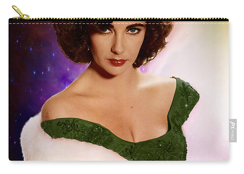 Elizabeth Carry-all Pouch featuring the photograph Dame Elizabeth Rosemond 'liz' Taylor - Featured In 'comfortable Art' Group by Ericamaxine Price