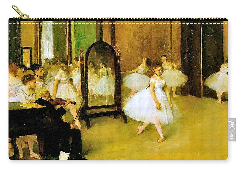 Edgar Degas Carry-all Pouch featuring the digital art Dance Class 2 by Edgar Degas