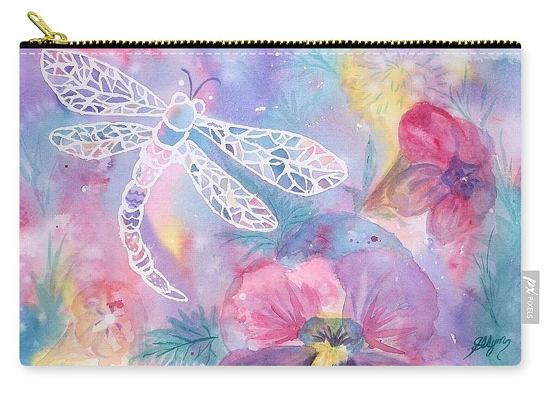 Dragonfly Carry-all Pouch featuring the painting Dance Of The Dragonfly by Ellen Levinson
