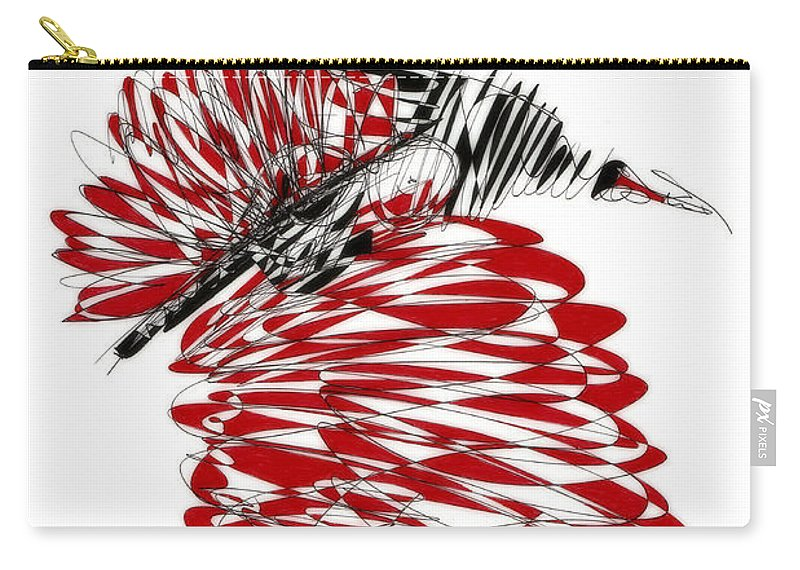 Drawing Carry-all Pouch featuring the drawing Dancer by Justyna JBJart