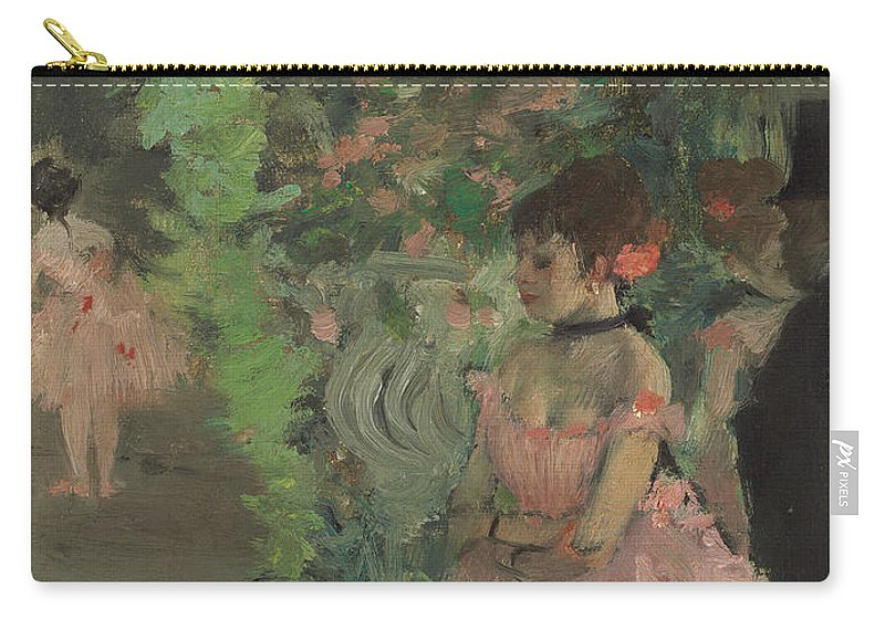 Impressionist; Dancer; Ballet; Female; Male; Top Hat; Tutu; Stage Carry-all Pouch featuring the painting Dancers Backstage by Edgar Degas