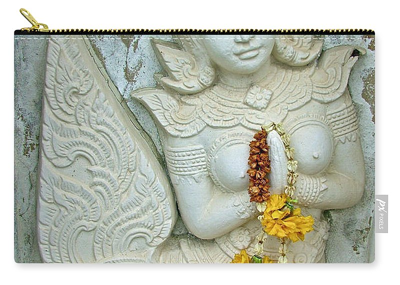 Dancing Aspara At Temple Of The Dawn Carry-all Pouch featuring the photograph Dancing Aspara At Temple Of The Dawn/wat Arun In Bangkok-thailan by Ruth Hager